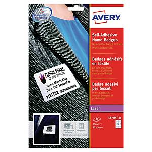 Badge textile autocollant Avery L4785-20, 50 x 80 mm, les 200 badges