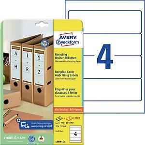 Ordner-Etiketten Avery Zweckform LR4761, Recycling, kurz/breit, weiß, 30Bl/120St