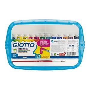 Tempera extrafine concentrata Giotto in tubetto 12 ml colori assortiti - conf.12