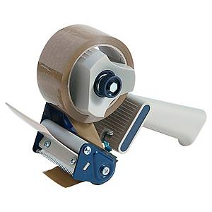 Packaging tape dispenser for rolls up to 75 mm blue