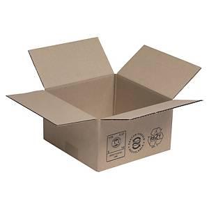 Kartonnen doos enkelgolfkarton, vierkante basis, B200 x H110 x L200 mm, 25 dozen