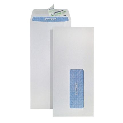 winpaq opaque window peel seal white envelope 4 x9 100gsm box