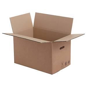 Verhuisdoos met handgrepen, dubbelgolfkarton, 350 x 350 x 550 mm, per 10 dozen