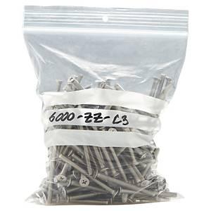 Sacchetti in plastica con chiusura a zip e strisce bianche 80x120mm conf. 100