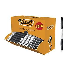 Pack de 30+6 bolígrafos retráctiles Bic Atlantis - negro