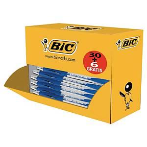 Bic® Atlantis Classic balpen, intrekbaar, medium, blauw, 30 stuks + 6 gratis