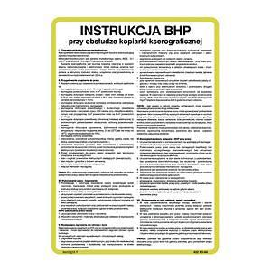 Instrukcja postępowania przy obsłudze kopiarki kserograficznej, 350 x 250 mm