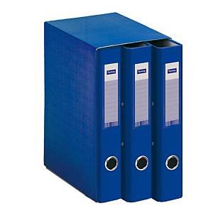 Módulo de 3 carpetas Lyreco - A4 - 2 anillas - lomo 40 mm - azul