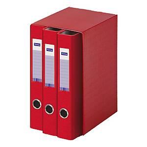 Módulo de 3 dossiers Lyreco - fólio - 2 argolas - lombada 55 mm - vermelho