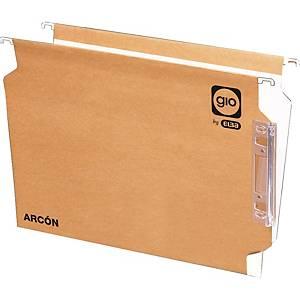 Pack de 25 carpetas colgantes Gio By Elba - A4 - kraft - lomo V