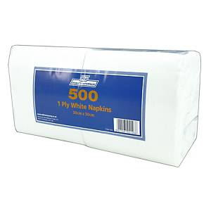 White 1 Ply Napkins - Pack of 500