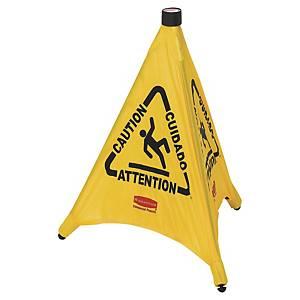 Warnschild Rubbermaid, Vorsicht Rutschgefahr, Pyramidenform, gelb