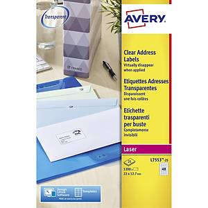 Avery L7553-25  Labels, 22 x 12.7 mm 48 Labels Per Sheet, 1200 Labels Per Pack