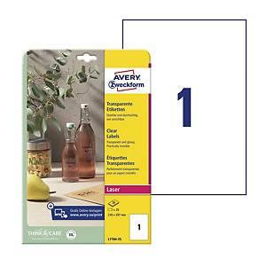 Etykiety przezroczyste Crystal Clear Avery Zweckform, 210 x 297 mm, 25 etykiet*
