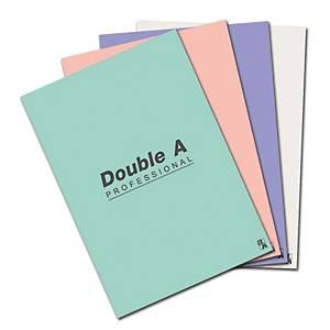 Double A สมุดปกอ่อนเย็บลวด 70 แกรม 24 แผ่น คละสีอ่อน แพ็ค  4 เล่ม