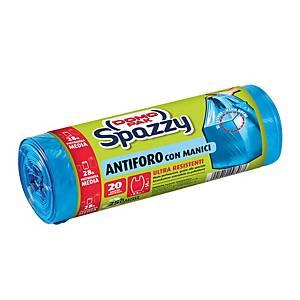 Sacchi spazzatura Spazzy Domopak con maniglie 28 L blu - conf. 20