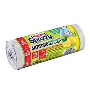 Sacchi spazzatura Spazzy Domopak con maniglie al limone 28 L - rotolo 15