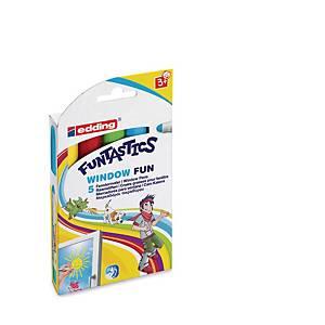 Edding® Funtastics window Fun  paint markers, assorti kleuren, per 5 lakmarkers