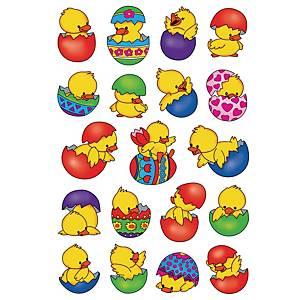 Etiquettes de récompense - Le paquet de 3 feuilles de 10 poussins de Pâques