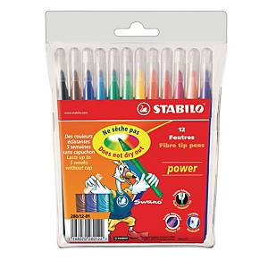 Feutres Stabilo® Power 280, couleurs assorties, la boîte de 12 feutres
