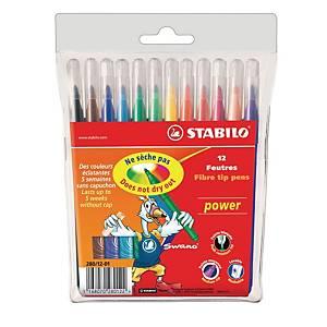Stabilo® Power 280 viltstiften, assorti kleuren, doos van 12 stiften