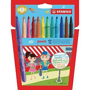 Stabilo Power Max viltstiften,  assorti kleuren, pak van 12 stiften