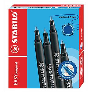 Recharges pour stylo roller Stabilo Move Easy, 0,5 mm, bleu, les 20 cartouches