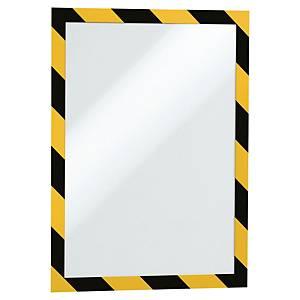 Självhäftande ficka Durable Duraframe Security, gul/svart, A4, förp. med 2 st.