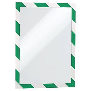 Durable A4自動黏貼指示磁石框 綠/白 - 2件裝