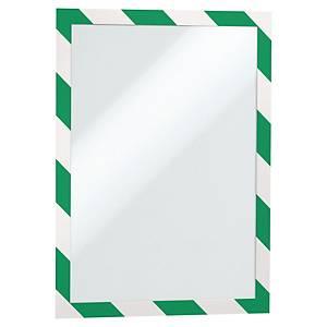 Självhäftande ficka Durable Duraframe Security, grön/vit, A4, förp. med 2 st.
