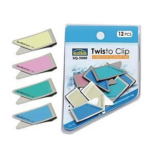 Suremark Twisto Clip Assorted Colour - Pack of 12