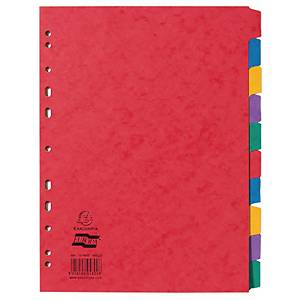 Exacompta Europa Pressboard A4 Dividers, 10 Part, Assorted Colours