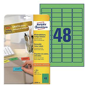 Usuwalne etykiety kolorowe Avery Zweckform 45,7x21,2mm, zielone, 960 etykiet