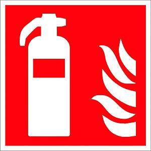 Brandschutzzeichen Gloria Feuerlöscher, lang nachleuchtend, 20 x 20cm, rot/weiß