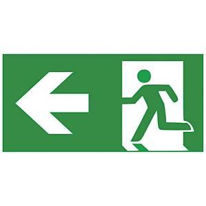 Rettungszeichen Gloria Rettungsweg Links, lang nachleuchtend, grün/weiß