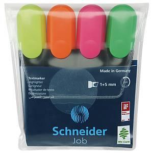 Zvýrazňovač Schneider Job, balenie 4 farieb