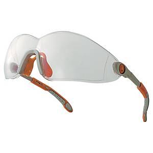 Schutzbrille Delta Plus Vulcano 2, Filtertyp 2C, grau/orange, Scheibe klar