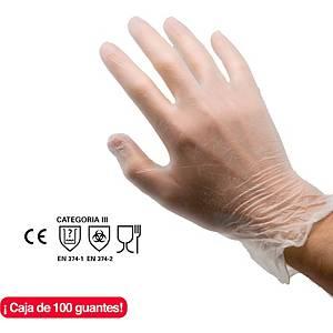 Caja de 100 guantes desechables Rubberex VYL100.PF - vinilo - talla 8