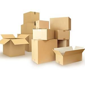 Pack de 25 caixas de cartão kraft - Canal simples - 400 x300 x270 mm