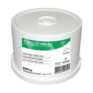 Bobina de 50 CD-R Falcon para impressora a jato de tinta - 700 MB