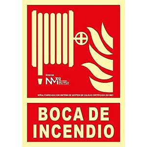 Placa   boca de incendio  - PVC fotoluminiscente - 300 x 210 mm