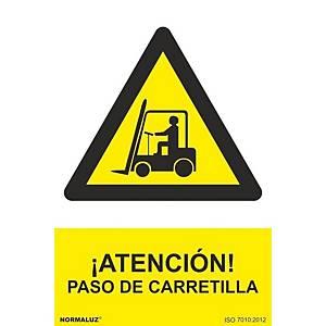 Placa  ¡atención! Paso de carretilla  - PVC - 297 x 210 mm