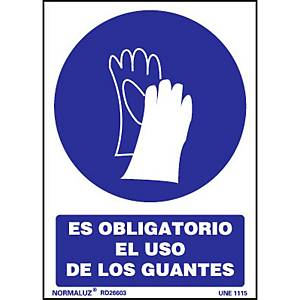 Placa  obligatorio el uso de guantes   - PVC - 297 x 210 mm