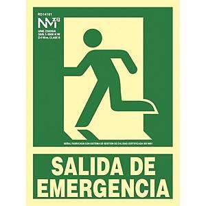 Placa  salida de emergencia  - PVC fotoluminiscente - 300 x 224 mm