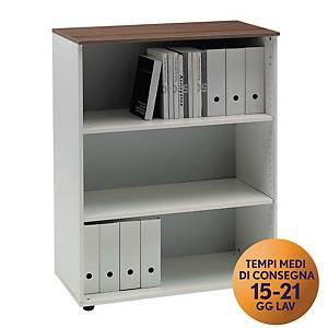 Armadio medio libreria TDM linea Open L 90 x P 48 x H 128 cm noce / bianco