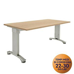 Scrivania Variant Meco Office linea Wood L 160 x P 80 cm rovere / argento