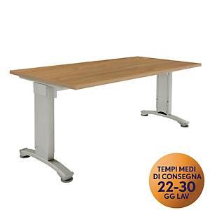 Scrivania Variant Meco Office linea Wood L 160 x P 80 cm noce / argento
