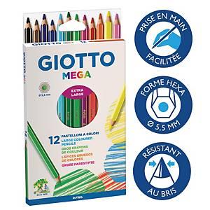 Giotto Mega kleurpotloden, doos van 12 potloden