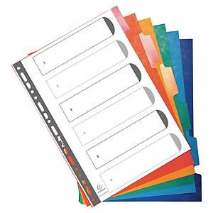 Exacompta herbeschrijfbare neutrale tabbladen, A4, karton, 23-gaats, per 6 tabs