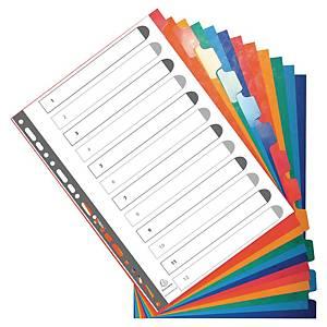 Exacompta herbeschrijfbare neutrale tabbladen, A4, karton, 23-gaats, per 12 tabs